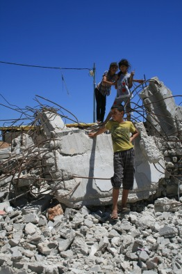 08082014 AlKhader House demolition nadir rema and thier brother on the ruins of thier house